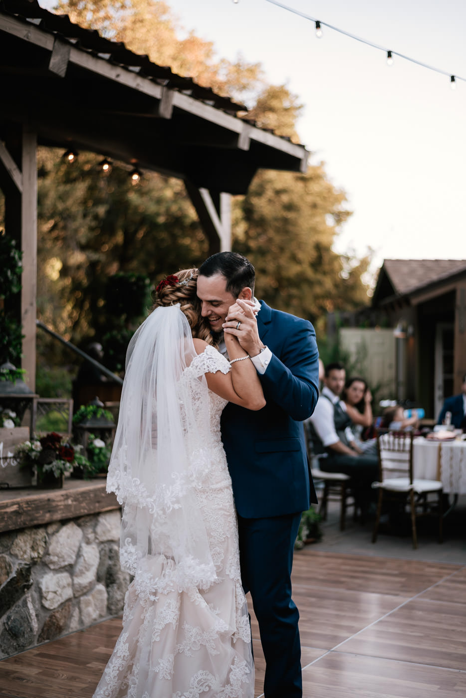 Romantic first dance photos at The Homestead at Wilshire Ranch in Oak Glen California.