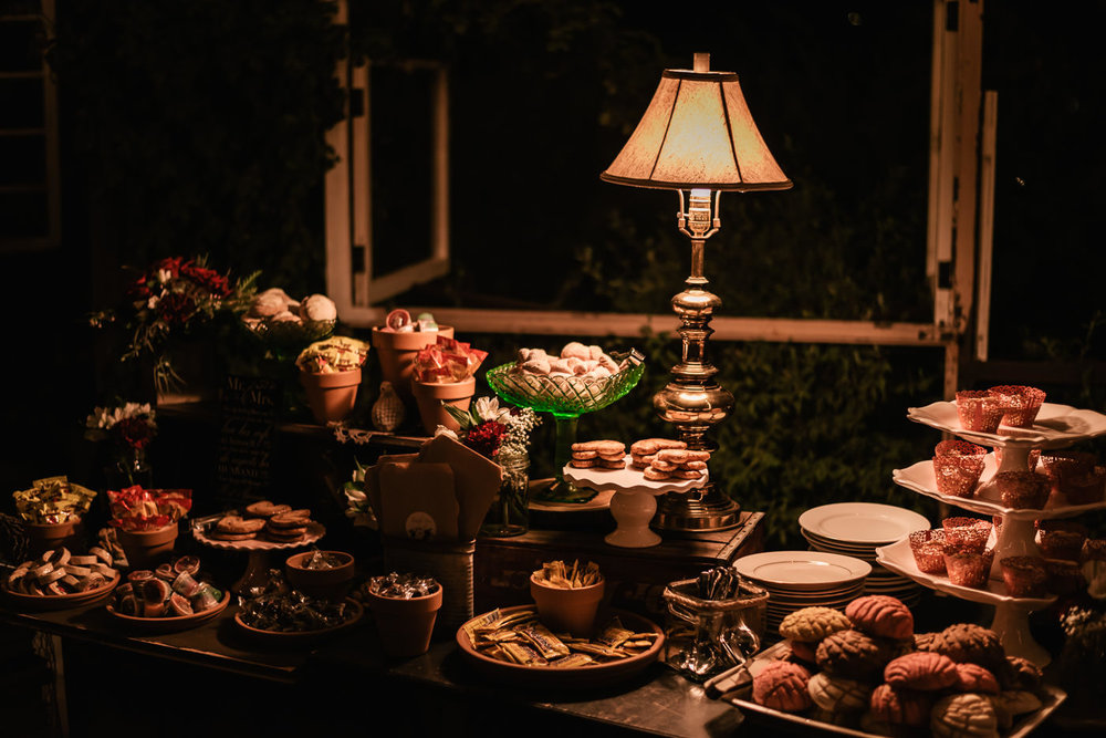Beautiful dessert table with an antique lamp at The Homestead.