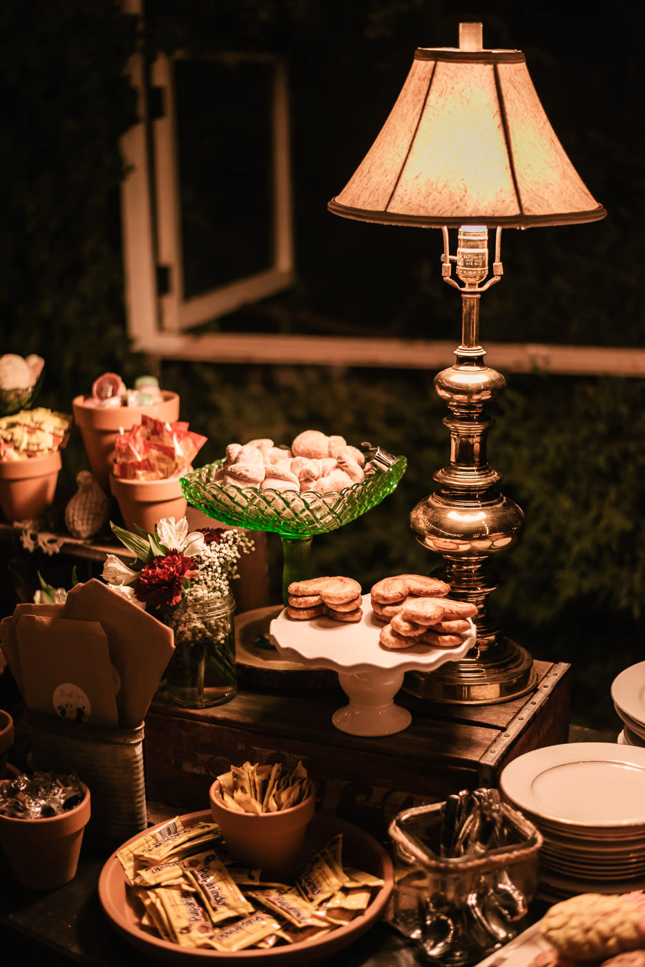 Add an antique lamp to your dessert table to add a little charm at your reception.