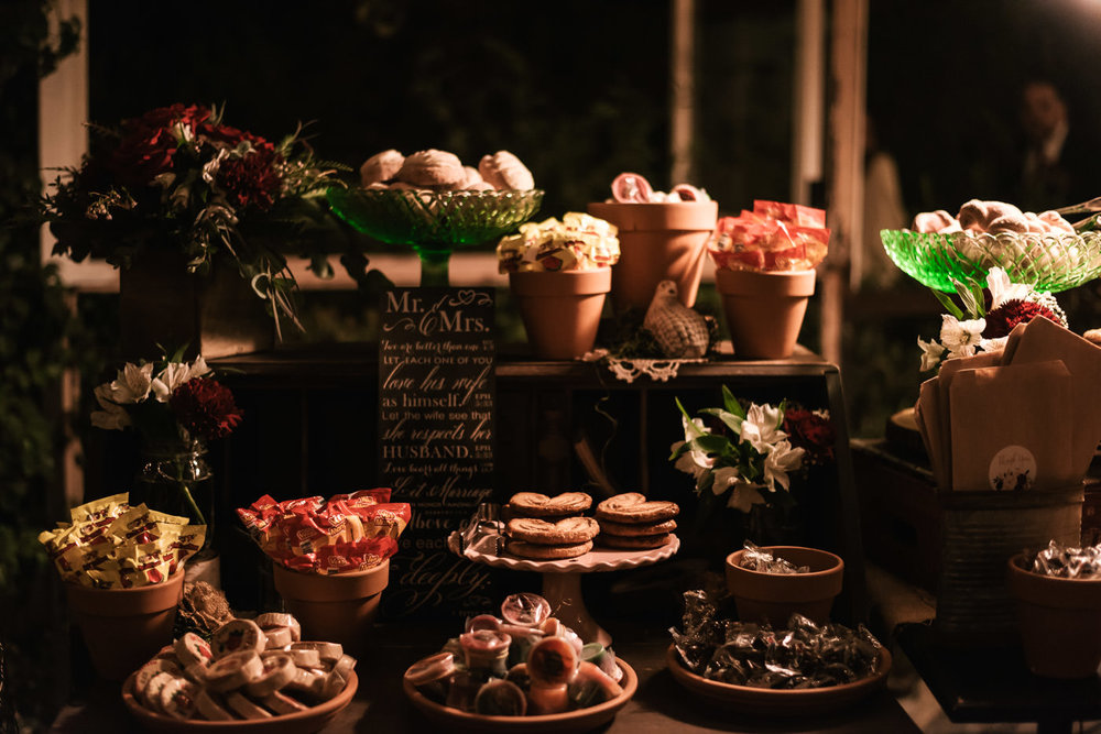 No wedding reception is complete without a beautiful dessert table.