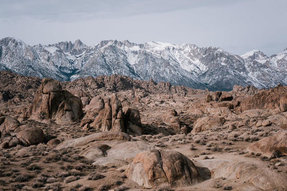 For couples desiring mountain views for the background of their elopement, you can't do much better than the Alabama Hills near Lone Pine, California.