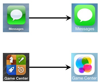 Left to right: iOS 6 to iOS 7