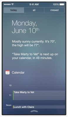 Notification Center on iOS 7 has a tabbed layout with a Today tab that shows a summary of the day's activities