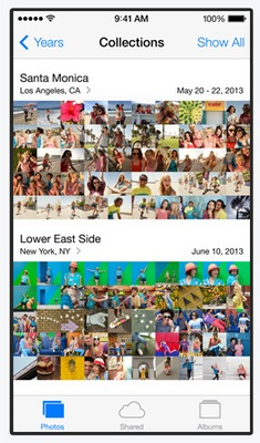 The Photos app in iOS 7 gains Moments and Collections, similar to Events in Mac OS X, where the app intelligently sorts the photos taken based on meta data like the time and location