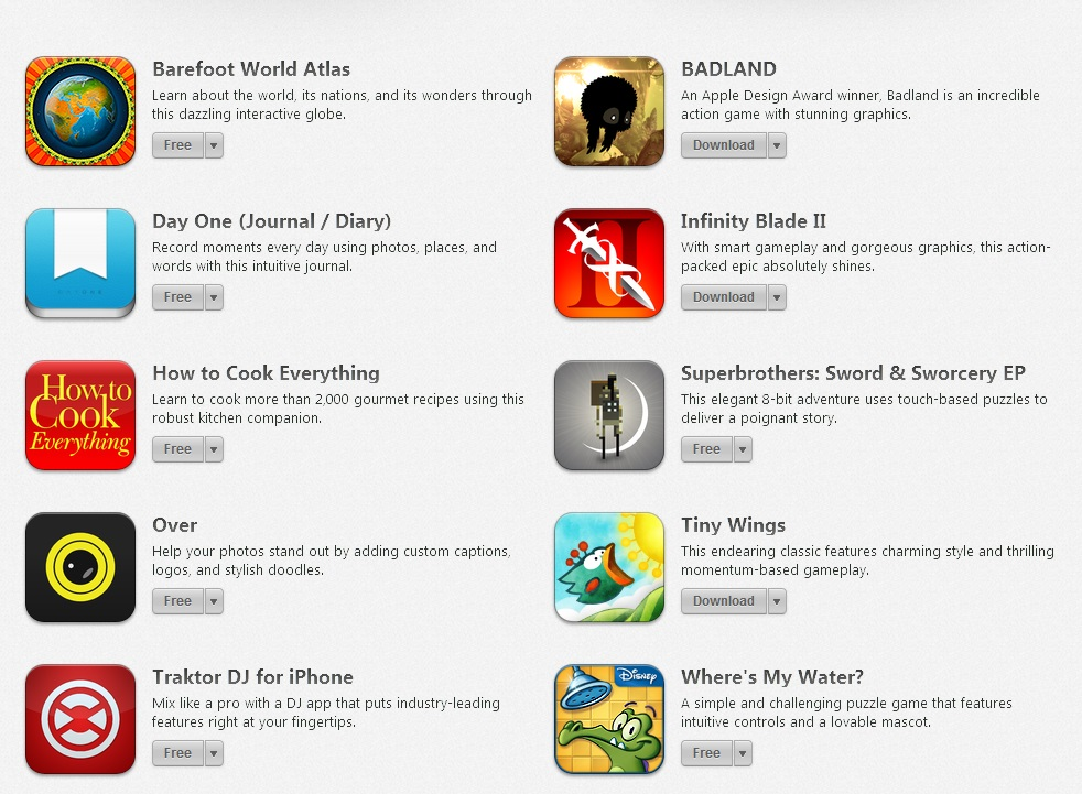 Some of the premium Apps discounted to free Apps by Apple on the 5 year anniversary of the App store. Source: Apple