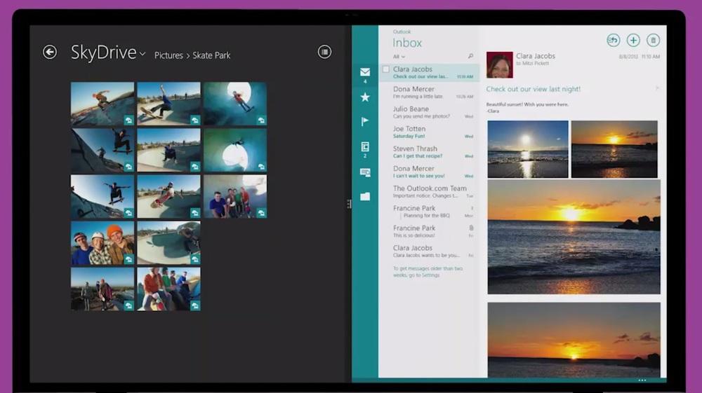 Multitasking on Windows 8 - Source: Microsoft.com