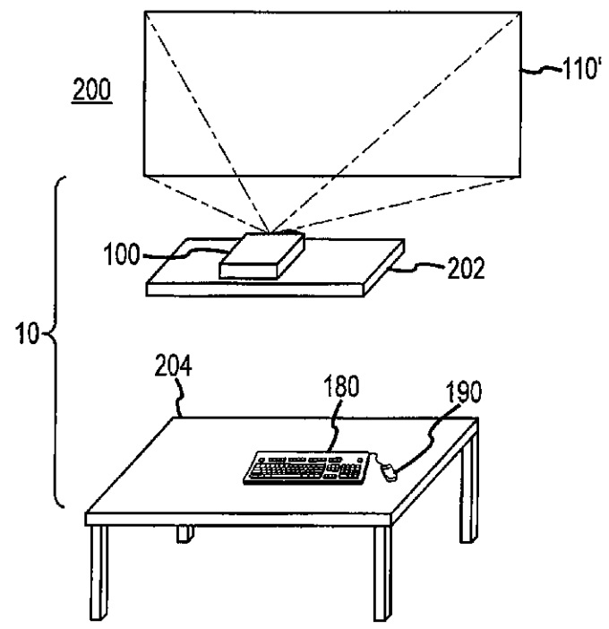 "Apple's patent on a ""desk free"" computer (Source - USPTO)"