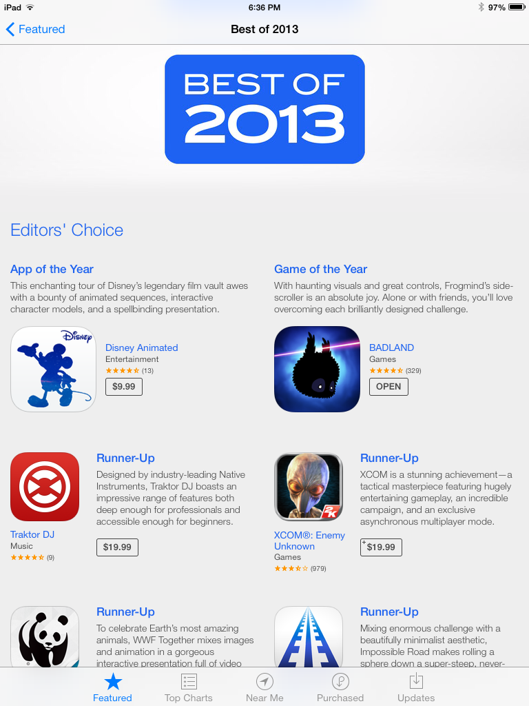 Best of 2013 from Apple (Source - iTunes)