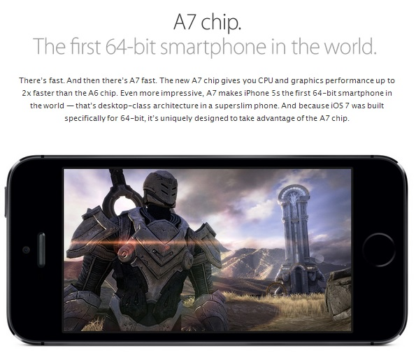 Apple's new 64 bit A7 chip (Source - Apple.com)