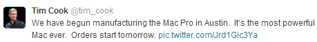 Tim Cook's tweet on the new Mac Pro's release date