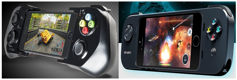 iOS gaming controllers, MOGA on the left and Logitech on the right (Source - Moga.com & Logitech.com)