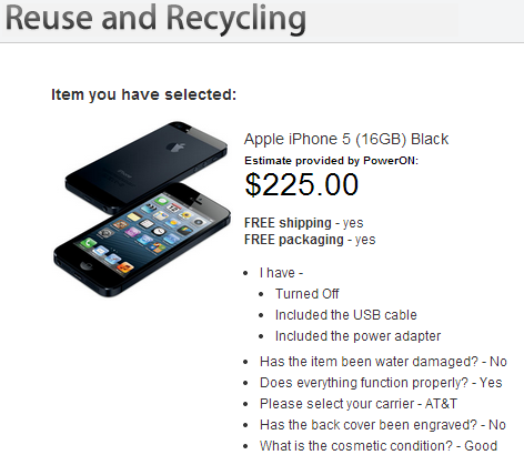 Used iPhone 5 price offered by Apple (Source - Apple.com)