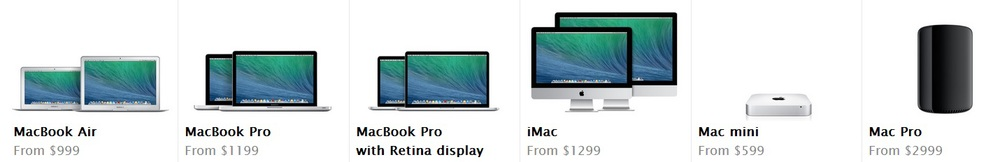 All Mac computers (Source - Apple.com)