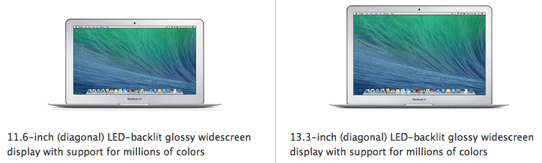 "Apple's current 11"" and 13"" Macbook Air, both do not have a Retina display, like their Macbook Pro cousins (Source - Apple.com)"