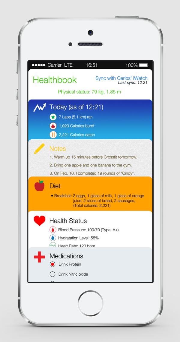 Healthbook App mockup (Source - Behance.net)
