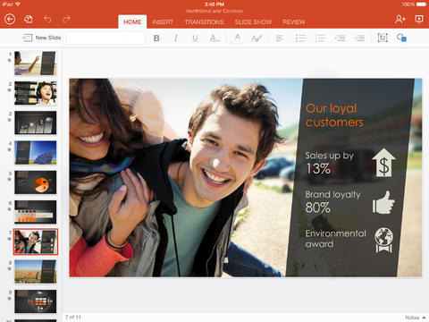 Microsoft Powerpoint for iPad (Source: iTunes.com)