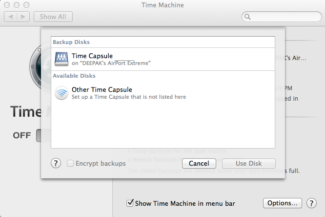 "Select the external hard disk in the list in Time Machine and click on ""Use Disk"""