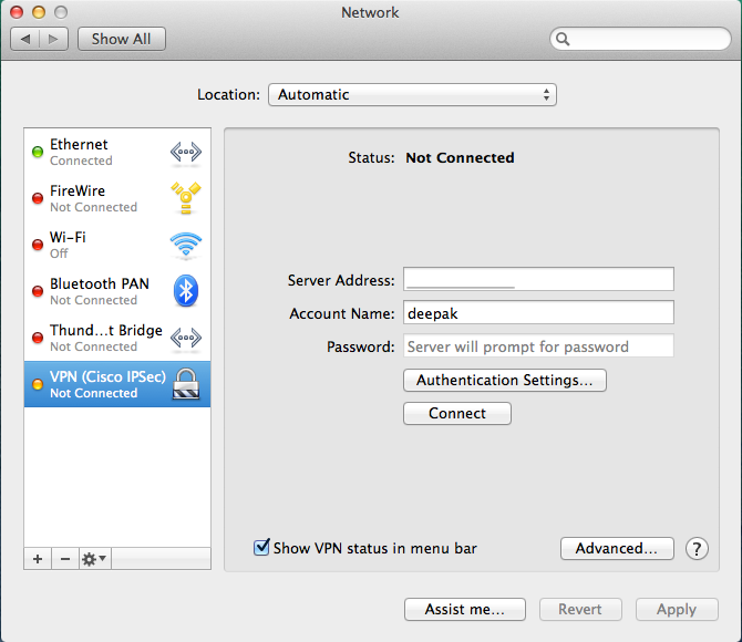 VPN can be setup on a Mac using the Network panel in the System Preferences