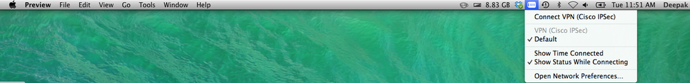 You can enable to show a VPN drop down menu on your menu bar and connect directly from there with one click