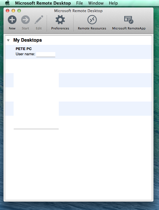Microsoft's free Remote Desktop client for Mac OS. The intro screen lists all the remote connections you have setup.