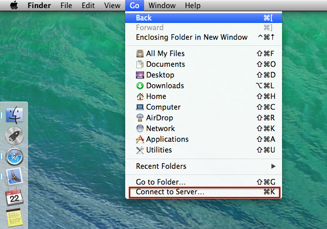 """In the Finder specific menu bar on top click on """"Connect to Server"""" in the """"Go"""" option"""