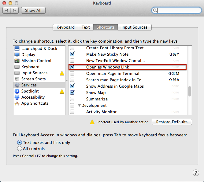 """Locate an option called """"Open as Windows Link"""" in the """"Shortcuts"""" pane and enable it"""