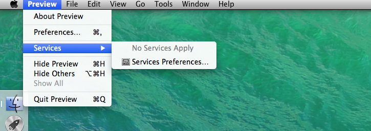 Navigate to Services Preferences menu in any application that can handle links (like Preview or Mail)