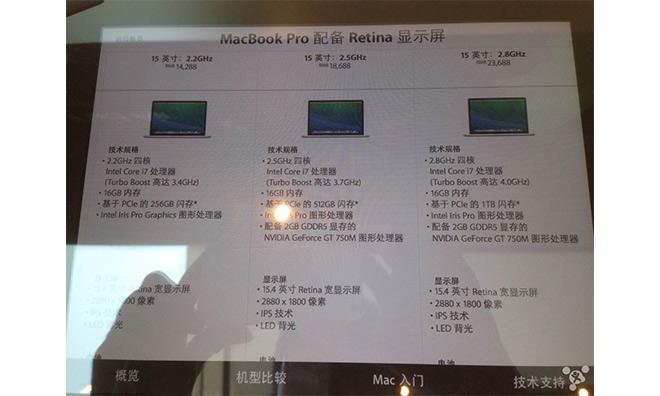 Leaked screenshot of alleged impending MacBook Pro refresh (Source: MacG via AppleInsider)