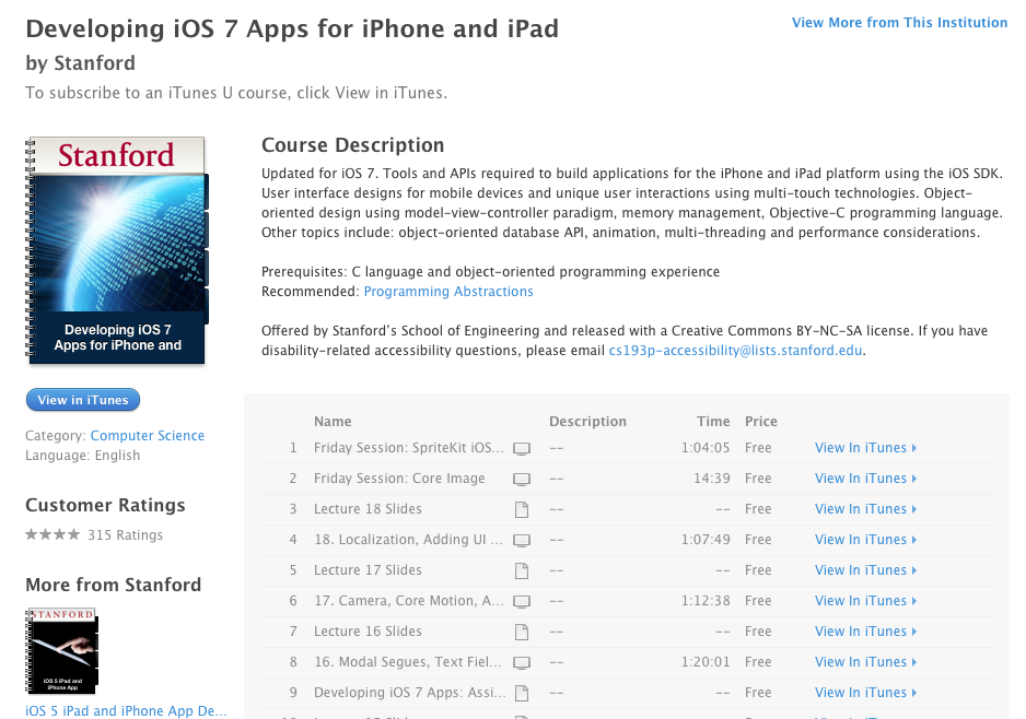 Stanford's free course offered on iOS 7 programming through iTunes U (Source: iTunes U)