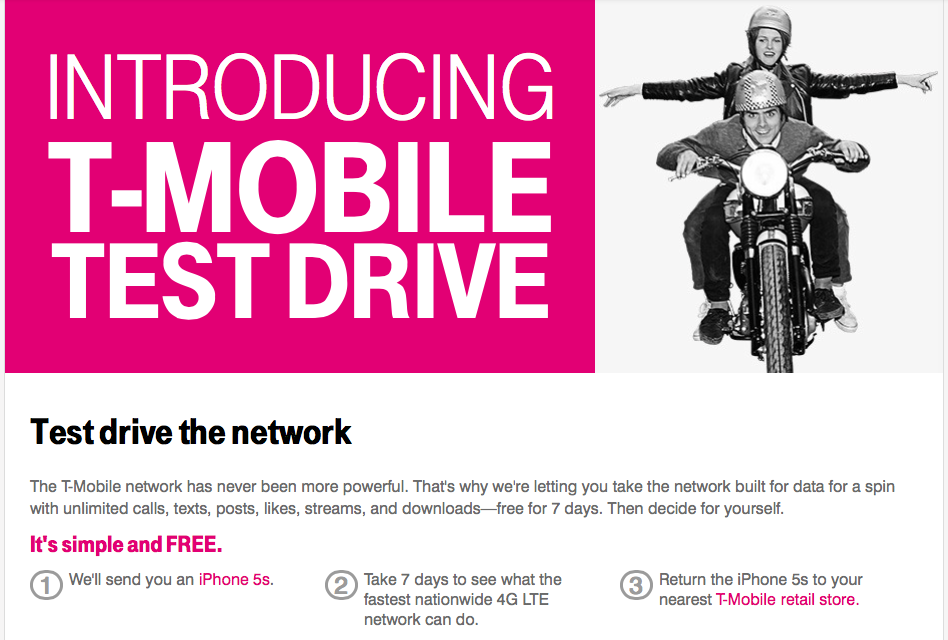 T-Mobile's new iPhone 5S test-drive initiative (Source: T-Mobile.com)
