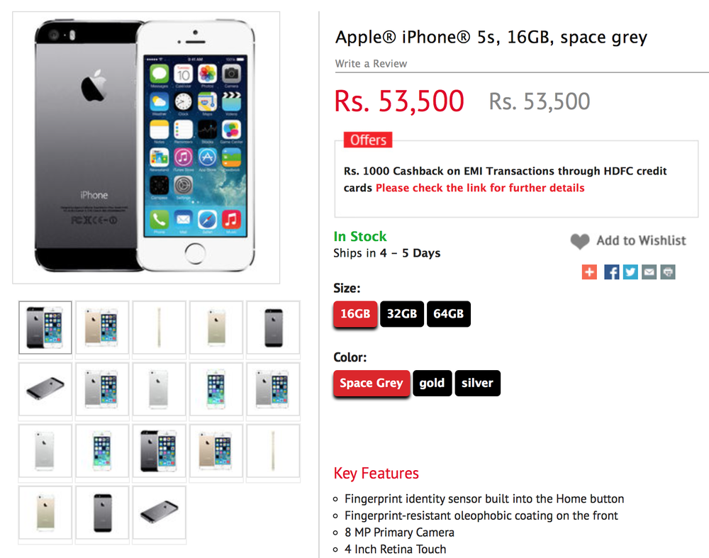 The iPhone 5S in India costs almost $850 in equivalent Indian Rupees (Source: Airtel.com)