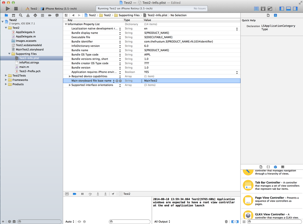 In the Information Property List column type in 'Main storyboard file base name' and then in the Value column type in the name of your newly created Storyboard file.This tells Xcode that this custom created Storyboard is your application's main Storyboard.