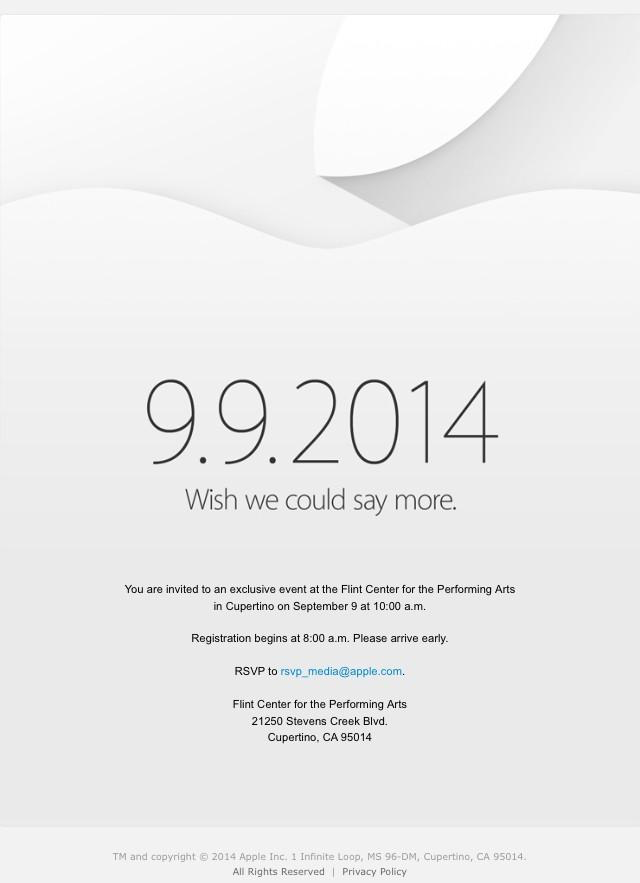 Apple's September 9th (2014) event invite (Source: 9to5mac.com)