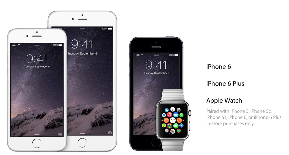 Since Apple Pay requires a NFC chip embedded, only iPhone 6 or 6 Plus can be sued stand alone, but with the Apple Watch paired, the iPhone from 5 onwards can be used for Apple Pay (Source: Apple.com)