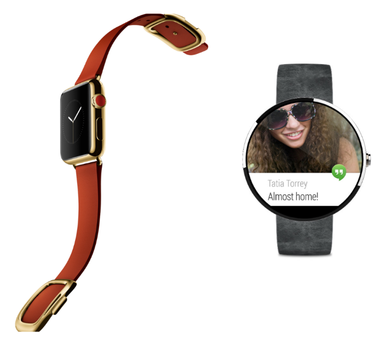 Apple Watch on the left (Apple.com) and Android Wear's Moto 360 on the right (Android.com)