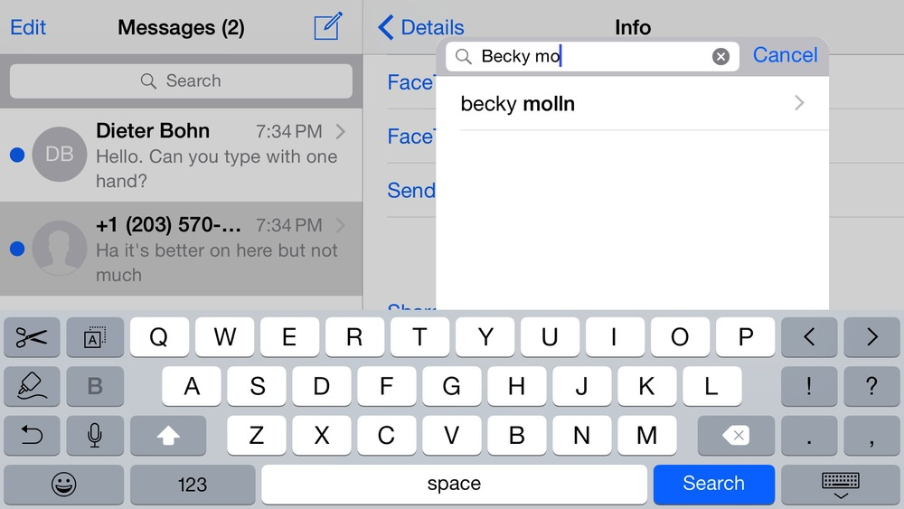 iPhone 6 Plus has a different, more optioned keyboard when in the landscape mode (Source: The Verge)