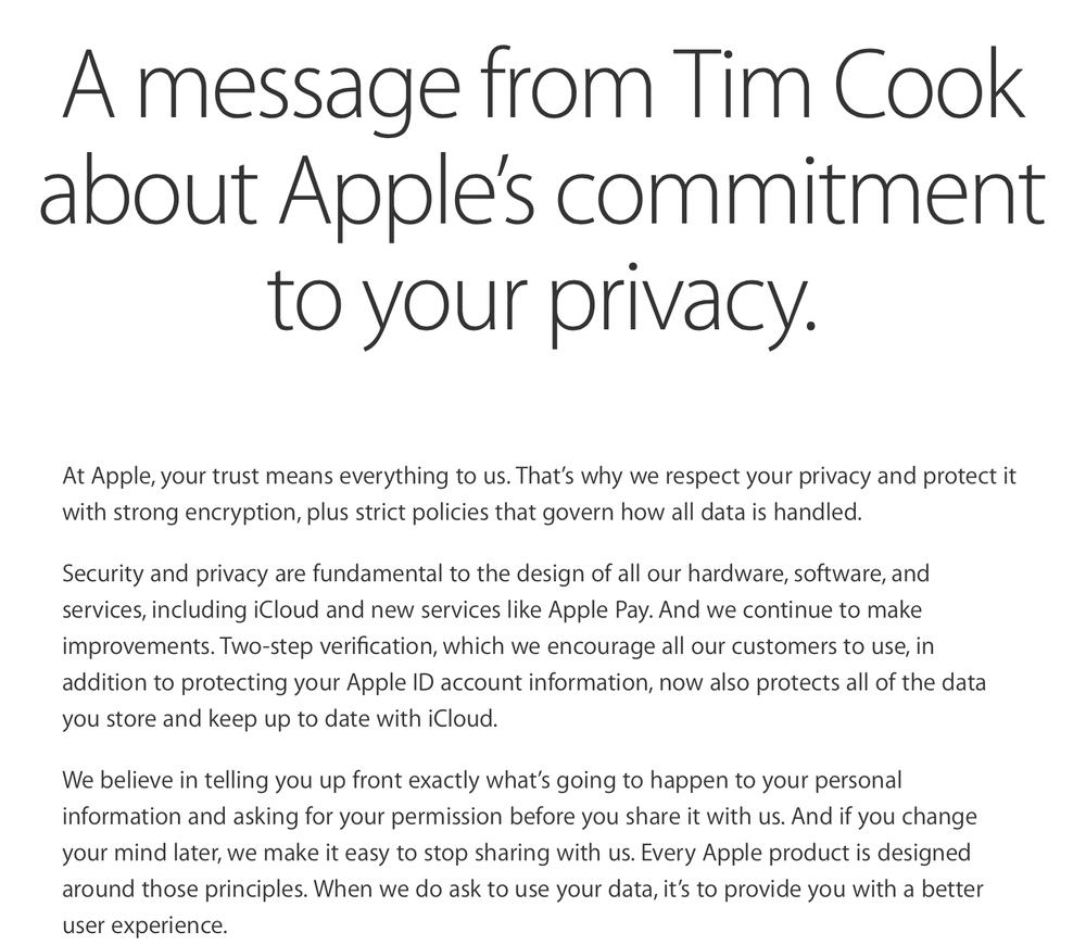 An excerpt of the privacy statement that Apple released recently (Source: Apple.com)