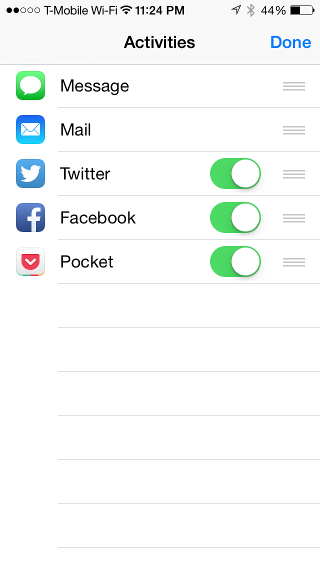 iOS 8 has options to customize the sharing page on any App to include specific third party Apps. Shown here is the Safari's share option page.