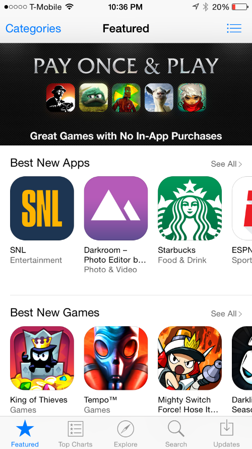 Apple highlighting games that do not have any in App purchases in them on the App store