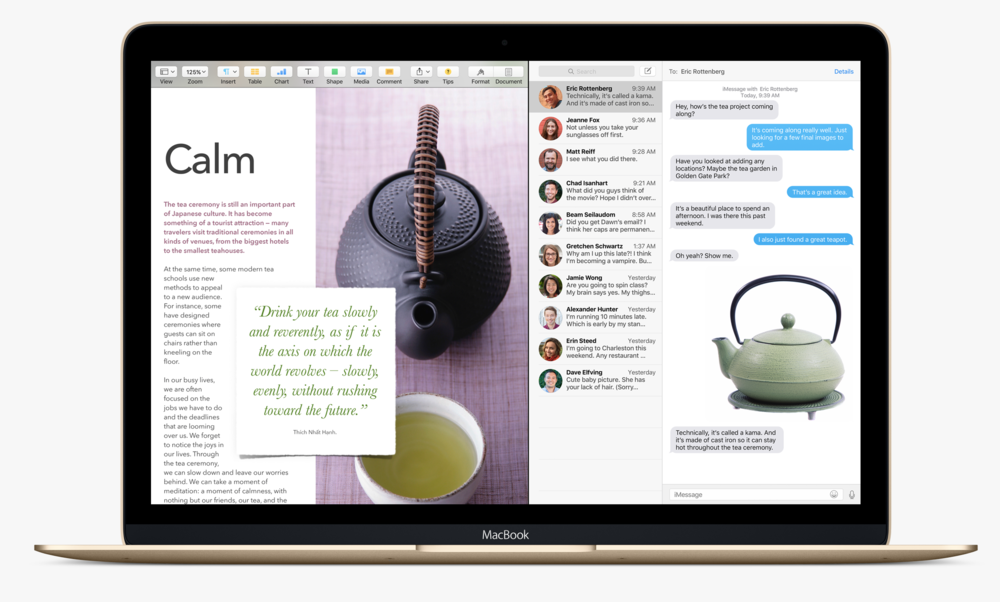 The new Split View feature on Mac OS X El Capitan (Source: Apple.com)