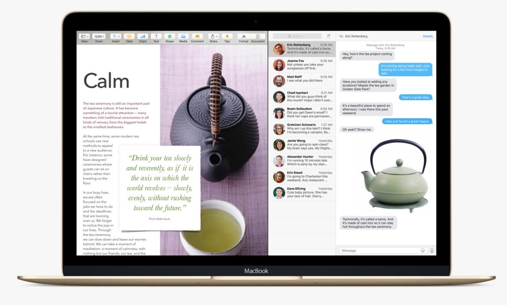The new Split View feature on Mac OS X El Capitan (Source: Apple.com)