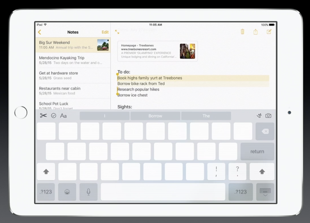 iOS 9 for the iPad has an improve keyboard and a pseudo mouse mode (invoked by double tapping the keyboard) in it (Source: Apple.com)