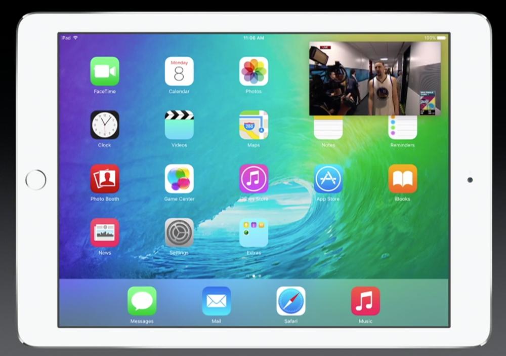 Apple's take on picture-in-picture on iOS 9 for iPad (Source: Apple.com)