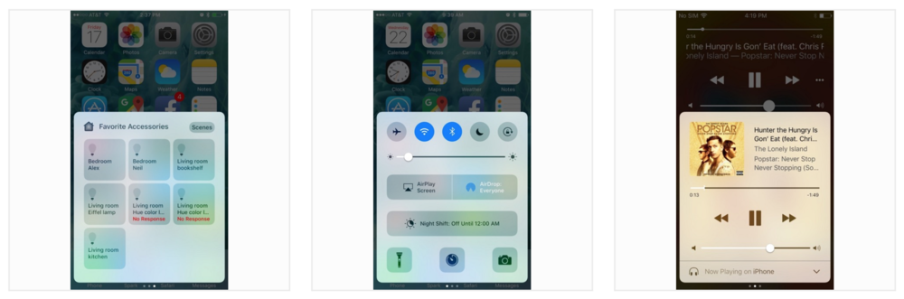 iOS 10 includes lots of enhancements to the Control Center and most of them involve heavy use of 3D Touch (Image Source: AppleInsider.com)