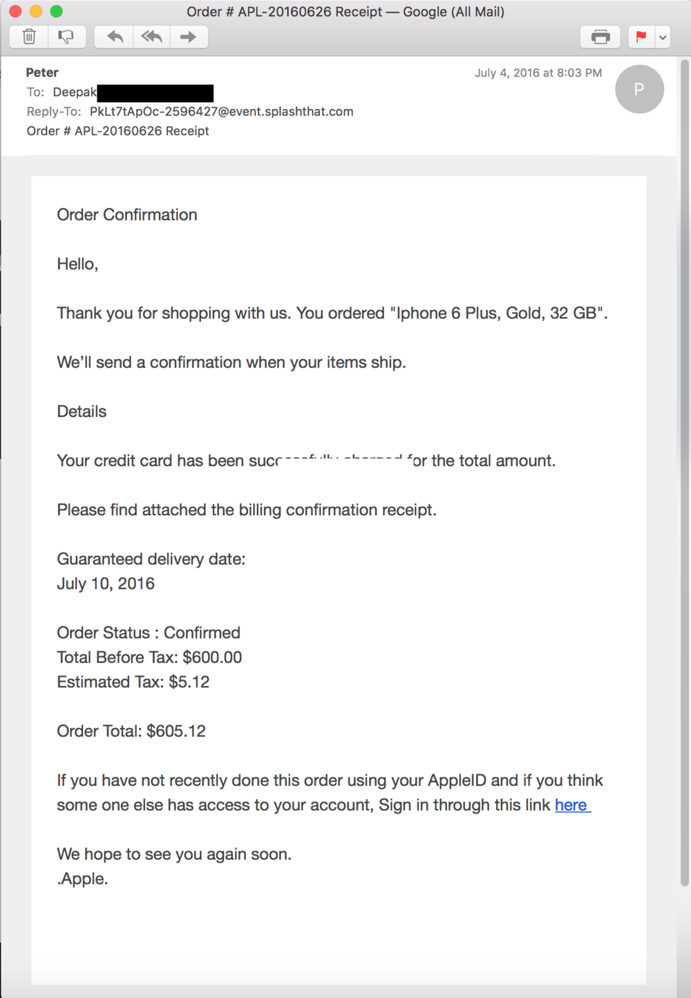 Phishing email scam targeting Apple IDs - I got an email from Peter of Apple! (Source: Apple.com)