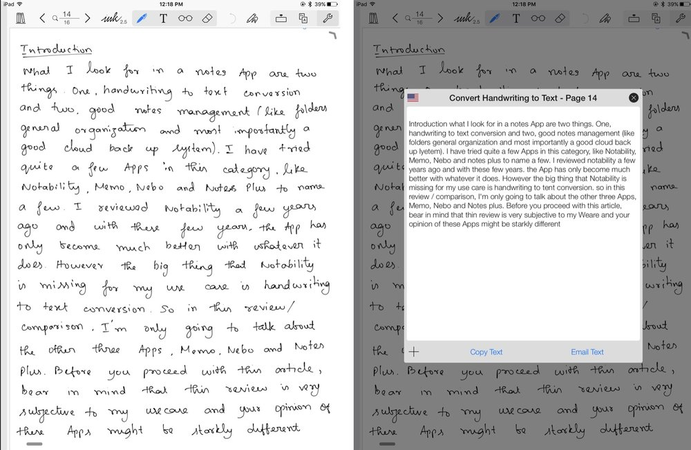 Handwritten text on the left and converted text on the right on Notes a Plus App