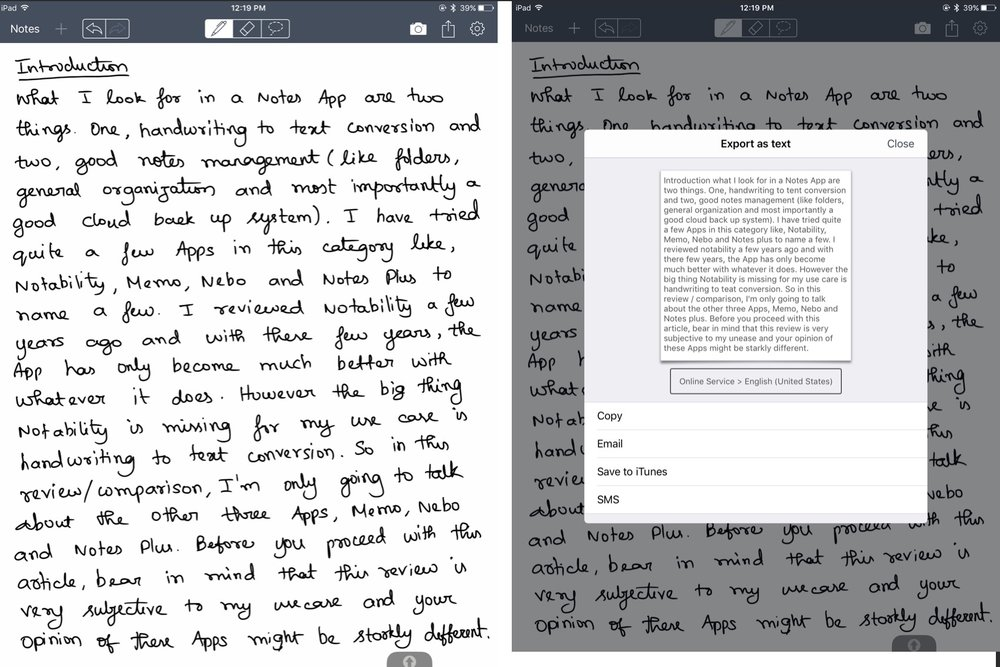 Handwritten text on the left and converted text on the right on Memo App