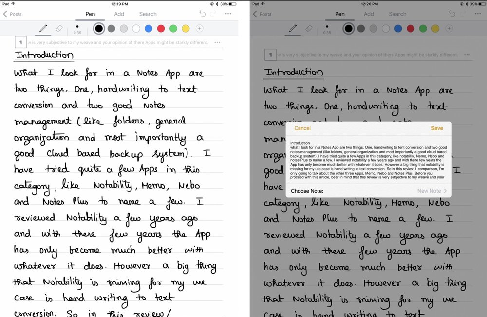Handwritten text on the left and converted text on the right on Nebo App