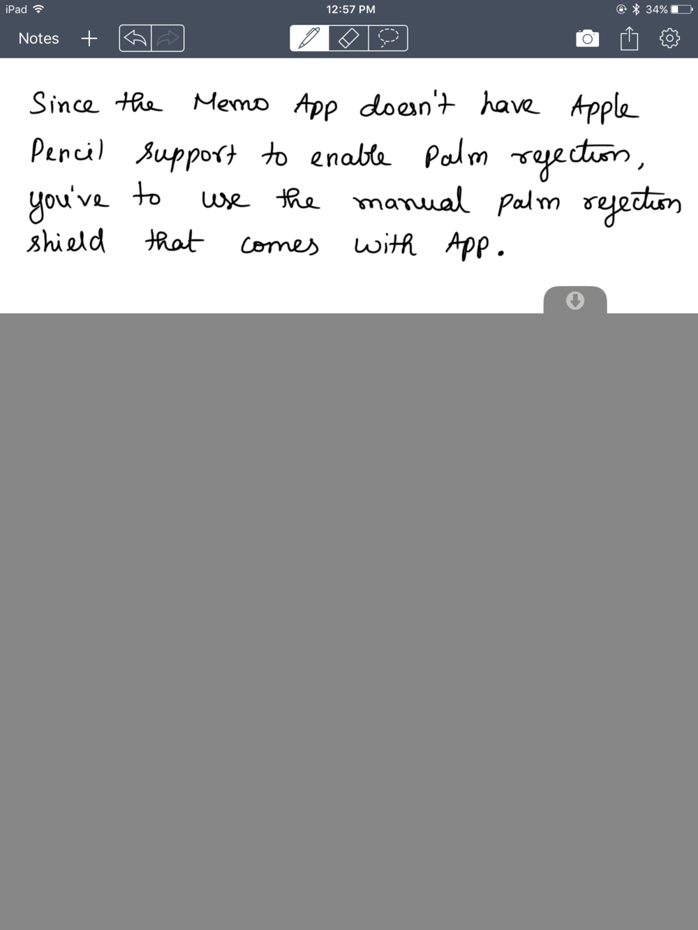 The only way to get some sort of palm rejection on the Memo App is by using a virtual sheet of shield of sorts that prevents any spurious inputs from your palm or other touches