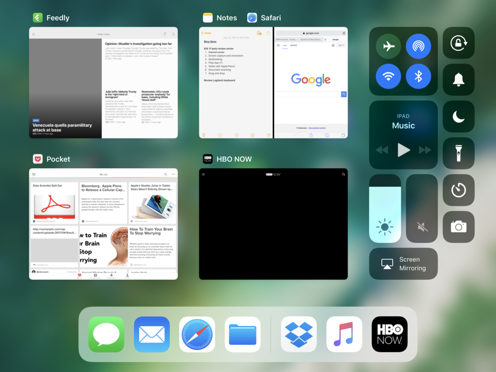 iOS 11 multitasking in landscape mode